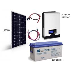 Kit solaire 300w hybride autonome 12v-230v - stockage 2400wh