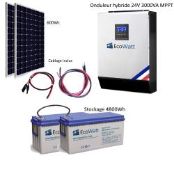 Kit solaire 600w hybride autonome 24v-230v - stockage 4800wh
