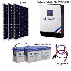 Kit solaire 900w hybride autonome 24v-230v - stockage 4800wh