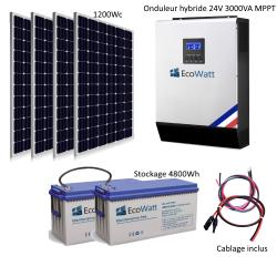 Kit solaire 1200w hybride autonome 24v-230v - stockage 4800wh