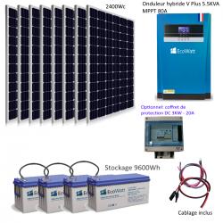 Kit solaire 2400w hybride autonome 48v-230v - stockage 9600wh