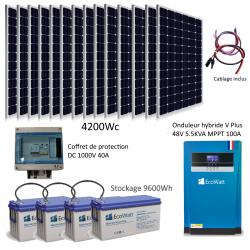 Kit solaire 4200w hybride autonome 48v-230v - stockage 9600wh
