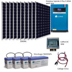 Kit solaire 3000w hybride autonome 48v-230v - stockage 9600wh