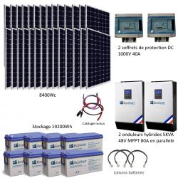 Kit solaire 8400w hybride autonome 48v-230v - stockage 19200wh