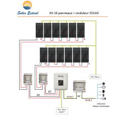 KIT SOLAIRE AUTOCONSOMMATION RESEAU 6080 WATTS 16 PANNEAUX RECOM 380W - 230V + ONDULEUR SOLAX AIR