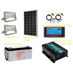 Kit solaire photovoltaïque éclairage LED extérieur 2 x 30W