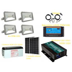 Kit solaire photovoltaïque éclairage LED extérieur 4 x 30W