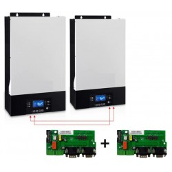 2 Onduleurs hybride 10KVA 48V MPPT 80A Bluetooth + 2 kits de communication